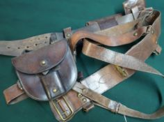 British officers Same Browne complete with marching pockets compass pouch, additional belt pouch and