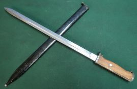 Swiss bayonet with 14.5 inch blade with single fuller various stamps and marks to the blade and