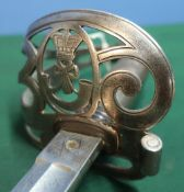 Victorian light infantry officers sword with 32 inch single fullered blade with etched detail