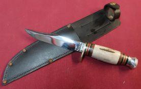 J Nowill and Sons of Sheffield sheath knife 4.5 inch swollen sambar horn grip