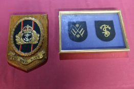 Royal Navy oak wall shield with brass plaque to the rear marked 'The Memory Of My Son Ralph. H