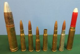 Selection of various inert casings and rounds including .50 cal, 30mm, etc
