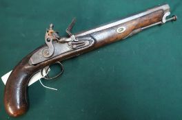 19th C Flintlock holster pistol with 10inch octagonal barrel and stirrup ram rod with engraved