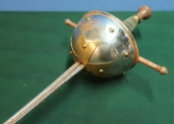 Spanish style cup hilt rapier style sword with 34 inch triform blade