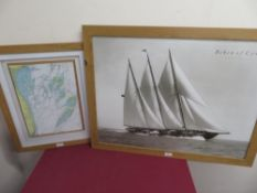 Beken of Cowes, Creole 1939, monochrome photo, 46cm x 34cm and a relief map of Goodwin Sands (2)