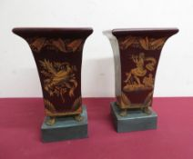 Pair of burgundy Toleware vases of square tapering form with gilt pen work decoration, on gilt metal