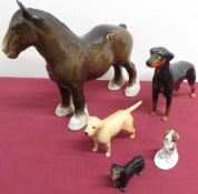 Beswick models of a Shire horse, a Doberman and a Labrador, unmarked model of a Dachshund and a