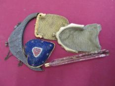 Gilt overlay square scent bottle, two ladies mesh evening purses, heart shaped beadwork pin