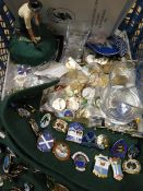 Large collection of Bowling club enamel badges, some foreign, English etc, two bowling glasses