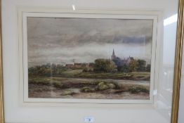 English School (early 20th C), an extensive river landscape with cows, a church beyond, watercolour,