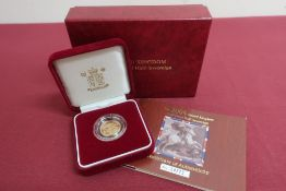 QEll UK Royal Mint gold proof half Sovereign 2004, in plastic case, display case and box with COA