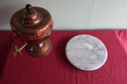 Copper samovar (A/F) and a marble circular Lazy Susan (2)