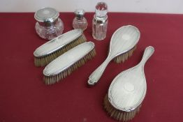 Two pairs of Geo. V engine turned silver hallmarked hairbrushes, Birmingham 1925, cut glass dressing