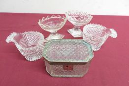 20th C hobnail cut glass rectangular table box, with gilt metal mounts (11.5cm x 8cm x 8cm), pair of