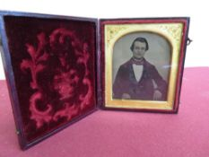 Victorian Ambrotype photo. study of a gentleman, in arched mount, and leather case
