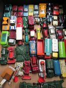 Collection of Matchbox, Lesney and other small scale diecast vehicles, matchbox shop etc (two boxes)