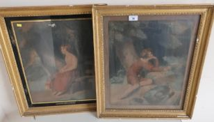 "Pair of 19th C gilt framed coloured prints, one of a girl titled ""Contemplation"", the other of a boy"