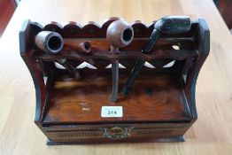 Edwardian walnut pipe rack, raised back with single drawer with brass handle (H30cm x W23cm x D12cm)