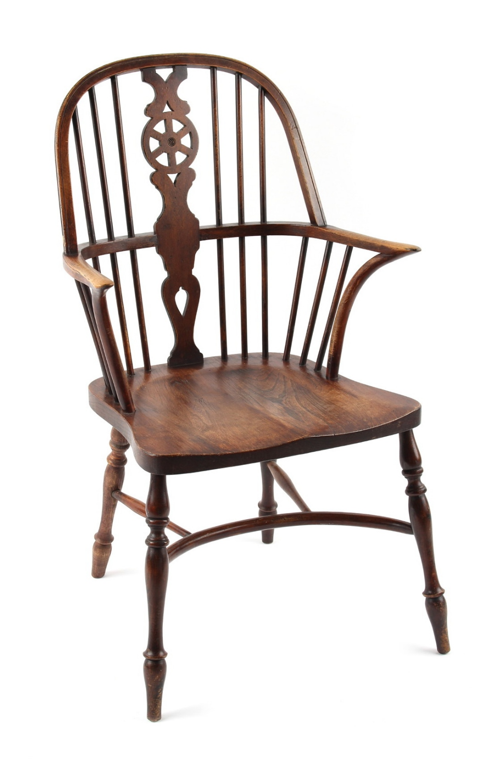 Lot 419 - A Glenister Windsor wheel-back elbow chair, with turned legs united by a crinoline stretcher.