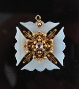 A cannetille cross pendant, probably Georgian, the arms probably chalcedony, centred by a pink