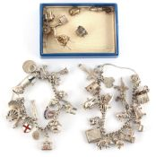 Property of a deceased estate - two silver charm bracelets; together with a small quantity of