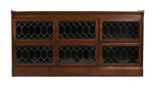 Property of a deceased estate - an oak Globe Wernicke style bookcase with six leaded glass