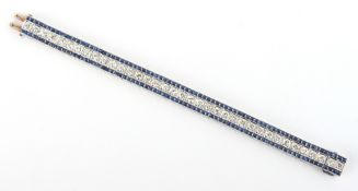 A fine Art Deco style white gold sapphire & diamond link bracelet, the box links with engraved