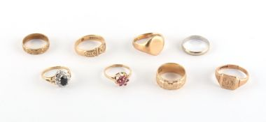 Property of a deceased estate - eight assorted 9ct gold rings, approximately 26.2 grams total (8).