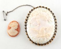 Property of a lady - an oval shell cameo brooch depicting two maidens & an eagle, 61mm long;