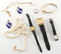 Property of a deceased estate - a bag containing assorted watches & costume jewellery including a