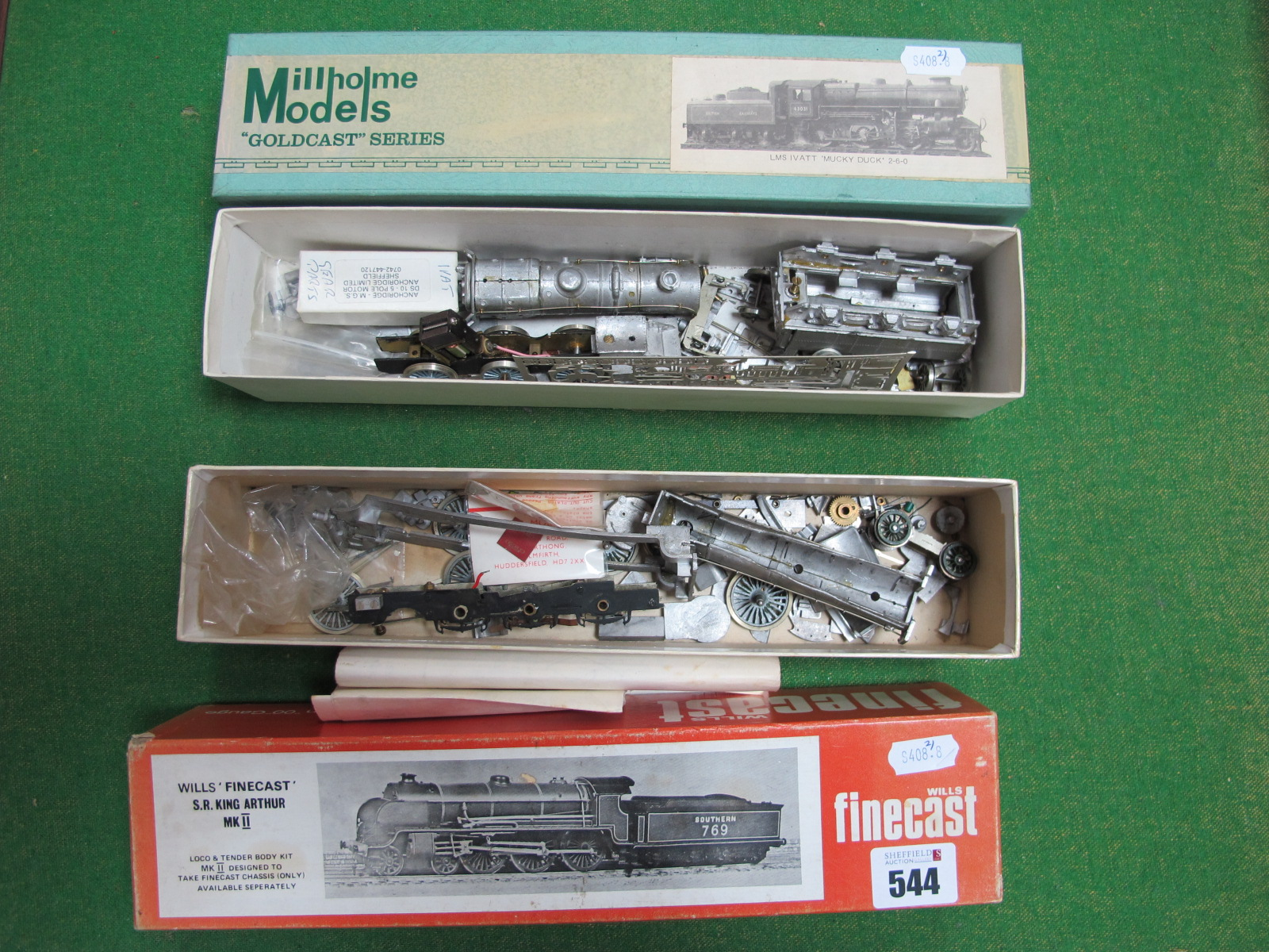 Lot 544 - Two ''OO'' Gauge/4mm Part Completed Boxed White Metal steam Locomotive/Tender Kits- a Millholme 2-