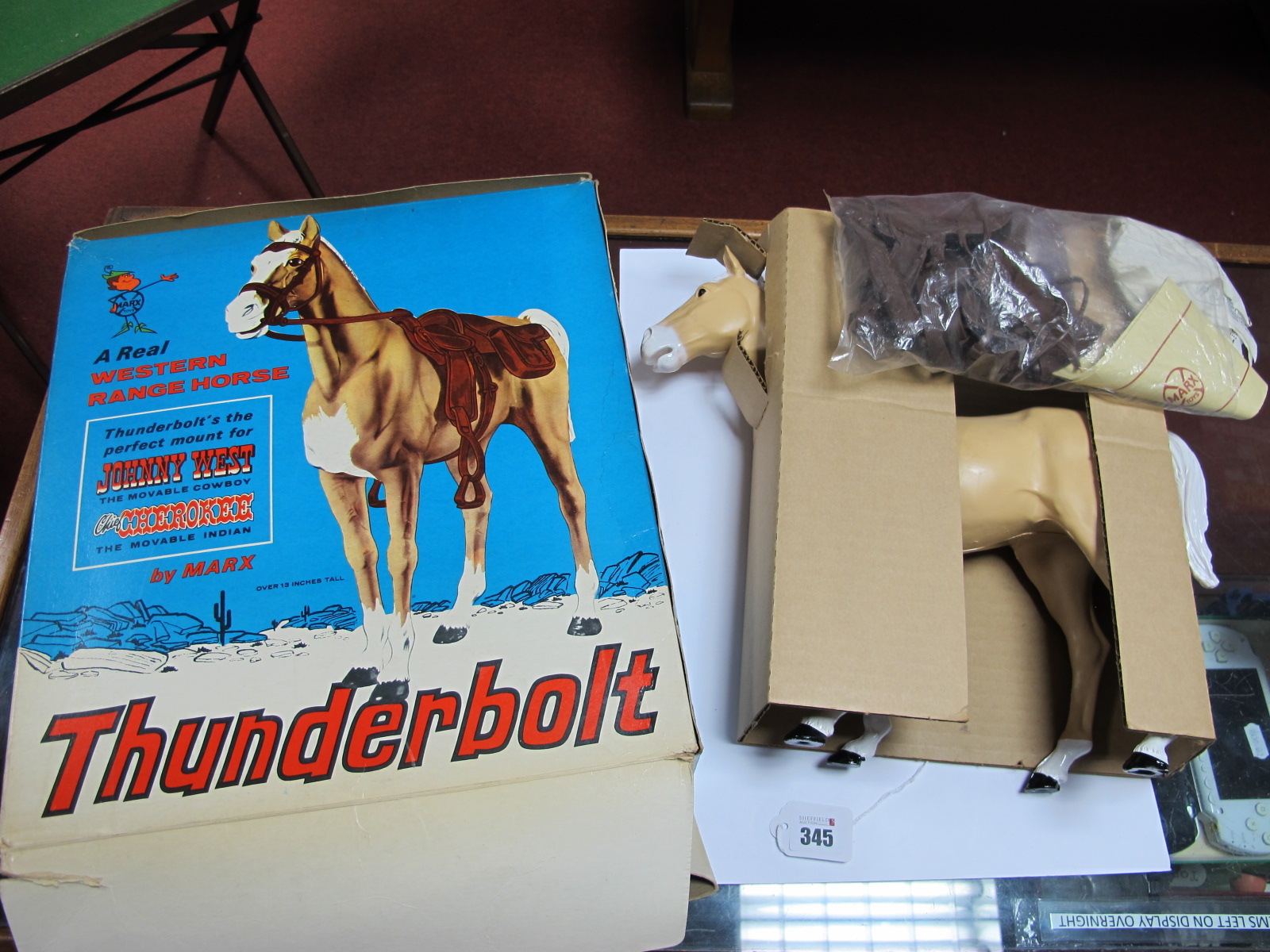 Lot 345 - 'Thunderbolt' Action Figure Horse, by Marx, suitable for Johnny West or Chief Cherokee, appears