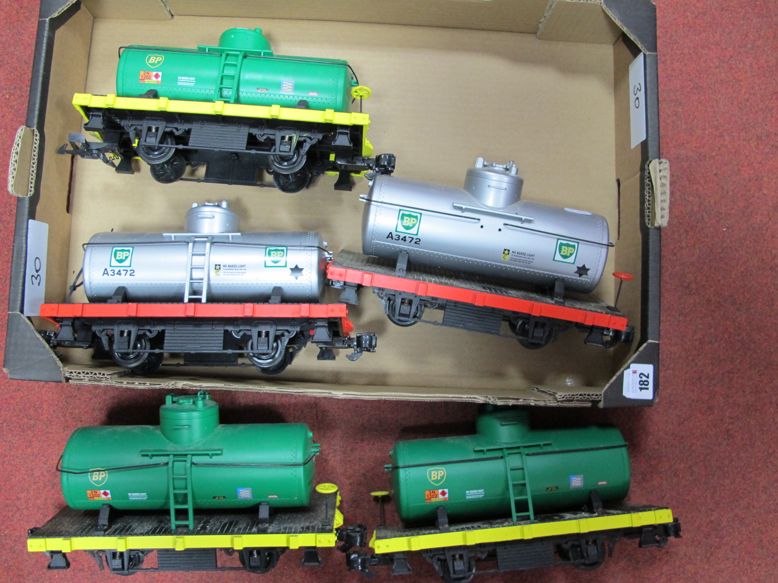 Lot 182 - Five Aristocraft 'G' Gauge Unboxed BP Tank Wagons, overall good condition, small parts missing.