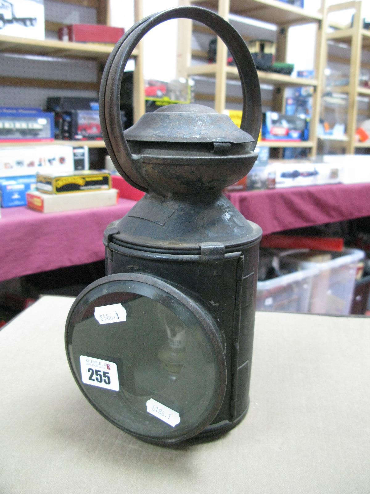 Lot 255 - A BR (E) Railway Three Position Oil Lantern, very good, complete condition, black finish, twelve