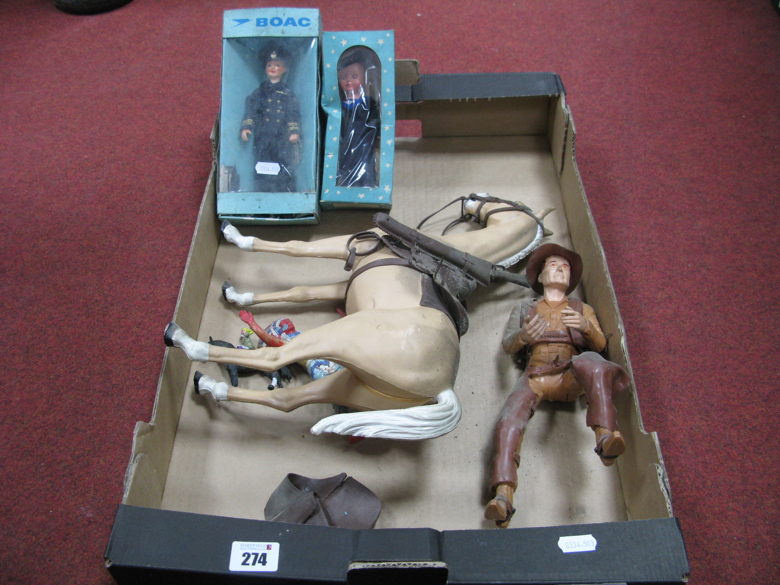 Lot 274 - Marx Thunderbolt Horse and Johnny West Plastic Model Toys, unboxed and in need of a clean.