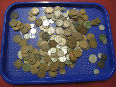 A Collection of Mainly Base Metal Coins, to include GB Pre-Decimal pennies, 1946 George VI
