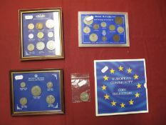 Two Framed Pre-Decimal Coin Sets, including British Silver Coins, Farthing, Halfcrown, Great Britain