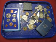 A Royal Mint U.K Annual Coin Set 1977, George V Half Crowns 1928,1929, Queen Victoria Farthing 1878,