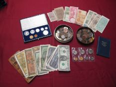 A Collection of Coins and Medallions, including G.B. Pennies, Sixpences, Shillings, South Africa