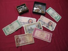 A Collection of Coins and Banknotes, to include U.S. Morgan Silver Dollar 1887, 5 Deutschemarks (2),