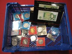 A Quantity of Mainly GB Coins and Banknotes, including Queen Victoria Crown 1889, Halfcrown 1881 (