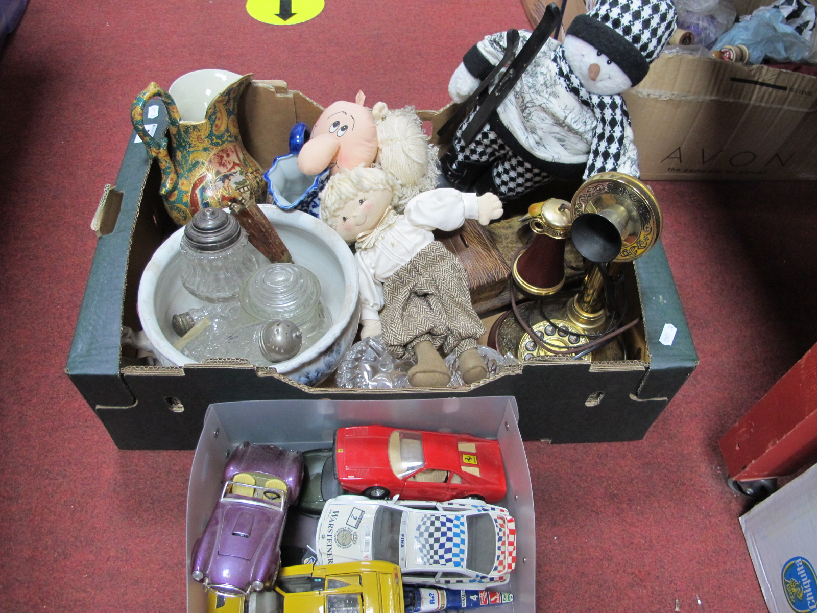 Lot 36 - Modern Reproduction Candlestick Telephone, chamberpot, glass, pottery, soft toys, novelty