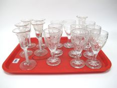 A Set of Six XVIII Century Style Wine Glasses, the bell bowls each etched with flowers and