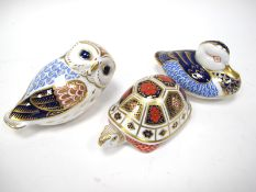 A Royal Crown Derby Paperweight 'Owl', gold stopper, 13cm long; A Further Two Paperweights, '