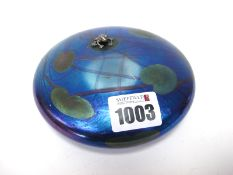 John Ditchfield for Glasform; A Purple Iridescent Glass Lily Pad Paperweight, mounted with a