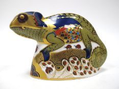 A Royal Crown Derby Paperweight 'Chameleon', gold stopper, date code for 2003, 13.5cm long.