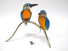 A Swarovski Crystal Paradise Bird Sculpture 'Kingfisher Couple', on metal branch, 22.5cm high.
