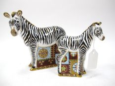 A Royal Crown Derby 'Zebra' Paperweight, gold stopper, date code for 2007, 17cm high; Another, 'Baby