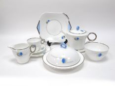 A Shelley Porcelain 1930's Art Deco Part Tea Service, decorated with stylised flowers within
