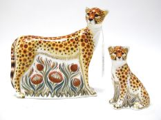 A Royal Crown Derby Paperweight 'Cheetah', gold stopper, date code for 2007,13cm high; Another, '